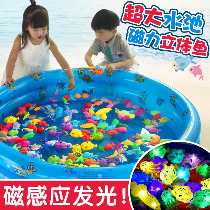 儿童钓鱼玩具 男女益智宝宝小孩戏水磁性感应发光鱼池套装123-6岁