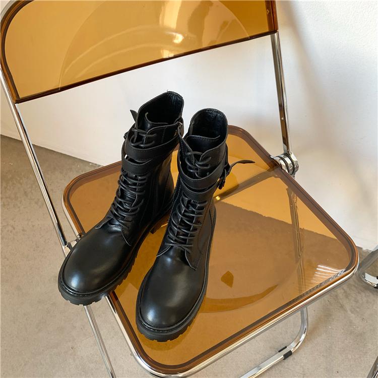 墨染·ann馬丁靴女皮帶扣側拉鍊機車女短靴子系帶圓頭短筒靴2121新款