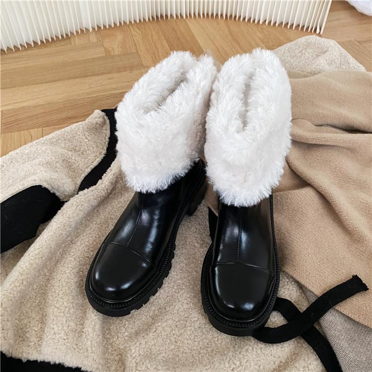 墨染·小香風加絨短靴圓頭仿羊毛中跟粗跟靴子女ins潮冬季小個子保暖靴