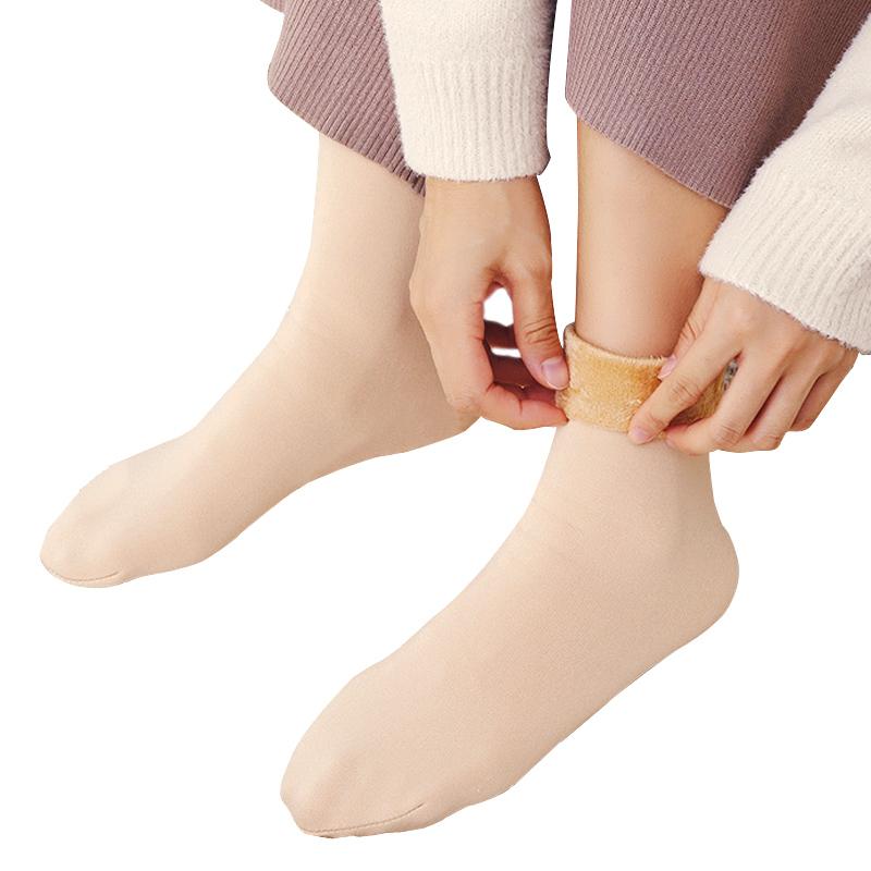 厚袜子女雪地袜中筒冬季加绒过膝小腿光腿露脚踝神器春秋半截高筒