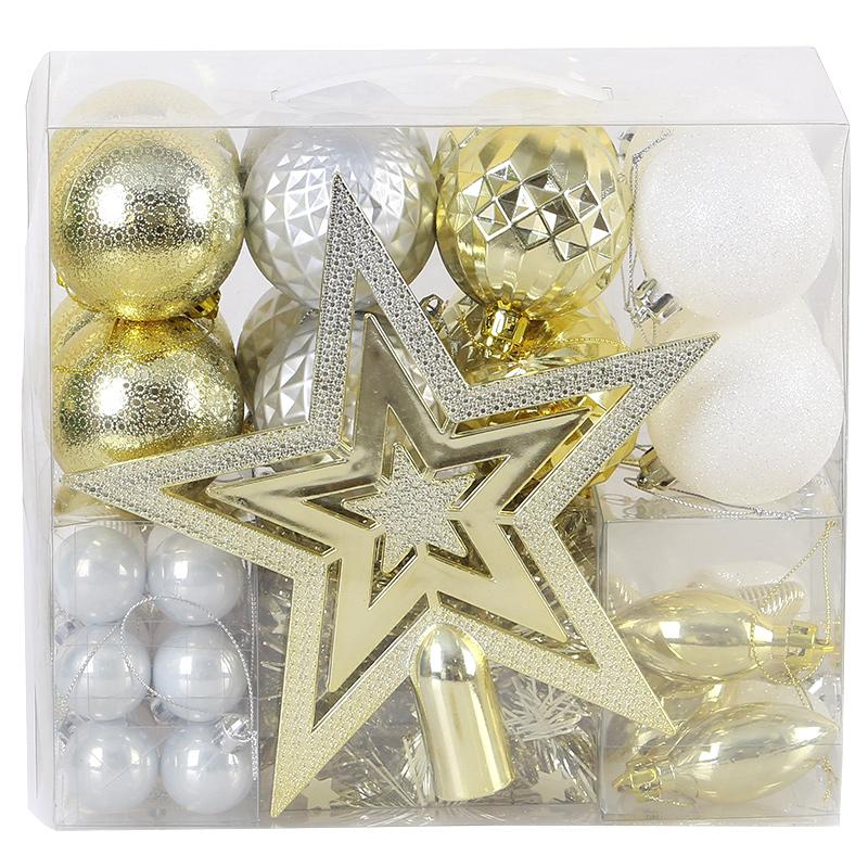 盈浩2019新品圣诞球礼包套装  圣诞树装饰品创意浪漫吊件50个装