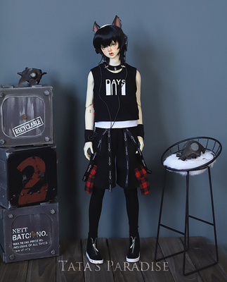 taobao agent 1/4 points 3 points Uncle and strong uncle BJD.MSD baby clothes suit rock and roll fake two-piece printed vest + baggy pants free shipping
