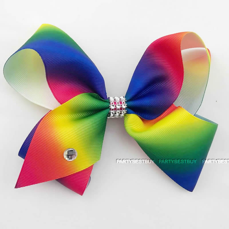 2238df1fd Large Hair Bow rainbow Bows Dance Moms girls kids accessories clips ...