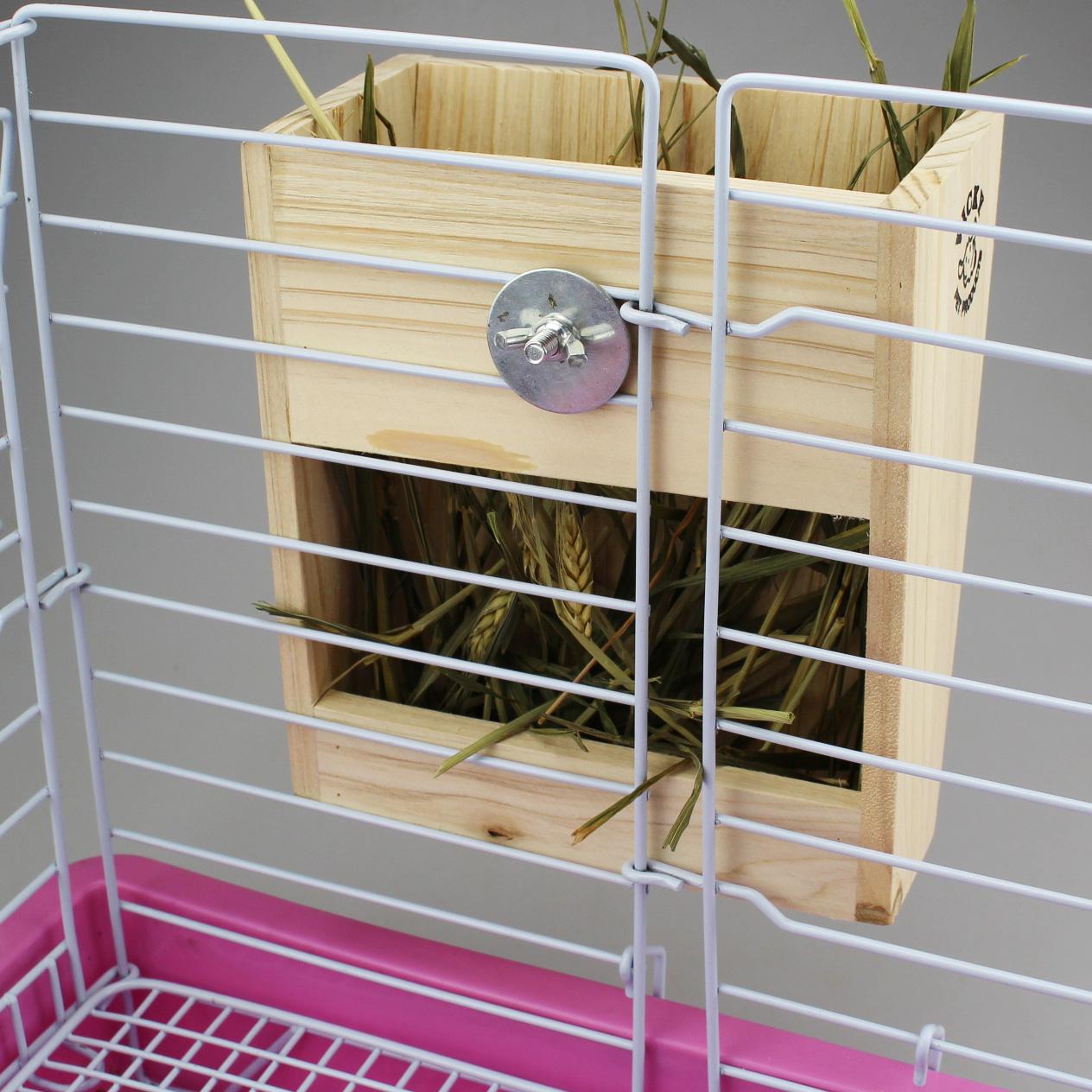 倉鼠籠 寵物籠 倉鼠窩 兔子籠熱銷 天然木質兔子 龍貓 荷蘭豬 木草架/2合1食盆 多款任選