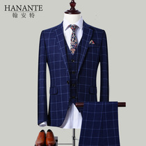Suit suit mens plaid dress three-piece suit slim groom dress