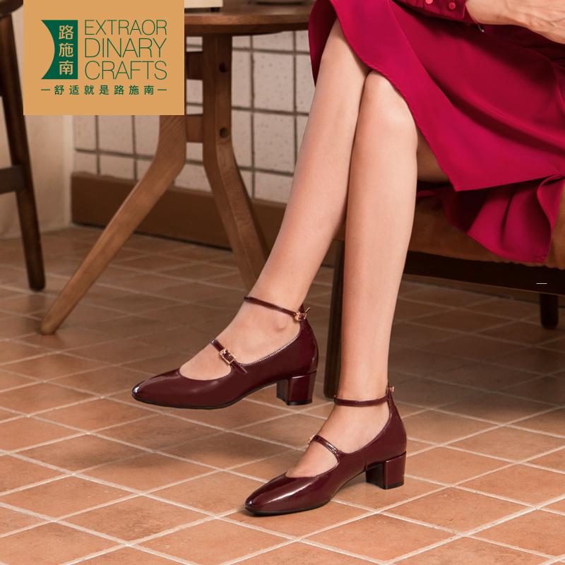 路施南女鞋2019新款秋鞋皮鞋玛丽珍中跟单鞋英伦复古小黑色漆皮女