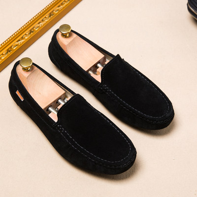 2021 spring new peas shoes men's leather hundred riding sand tide men's casual shoes Korean version of the lazy soft bottom driving shoes
