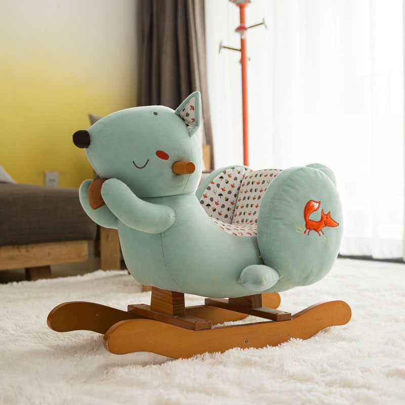 Haxi House Authentic Rocking Horse Trojans Solid Wood Childrenu0027s Baby Toys Rocking  Horse Rocking Chair Gift