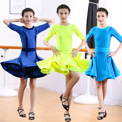 Girls Latin Dance Dresses Latin Skirt Dresses, Girls'Dance Dresses, Children's Pure-color Long-sleeved Grade Examination and Gongfu Girls