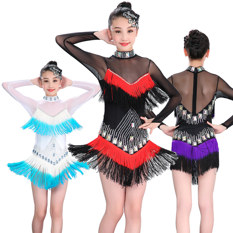 Girls Latin Dance Dresses Long Sleeve Bright Drill-tassel Skirt Gradual Change Latin Dance Performance Dress Sexy Screen Sequins Practicing Gong Regulation Dress