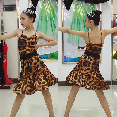 Girls Latin Dance Dresses Latin Dance Performance Dress Girls Leopard-print Professional Gongfu Dresses Children's Suspended Dance Dresses Performance Dresses