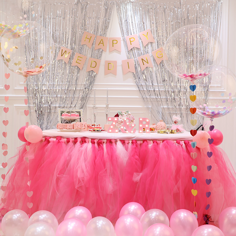 Wedding Supplies Dessert Table Tablecloth Attendance Gauze Birthday Party Decoration Tutu Yarn Skirt