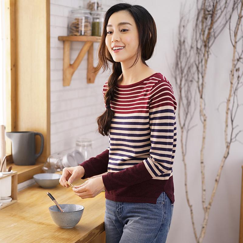 茵曼 INMAN 纯棉百搭条纹 女式毛衣 针织衫 双重优惠折后¥86.6包邮 2色可选