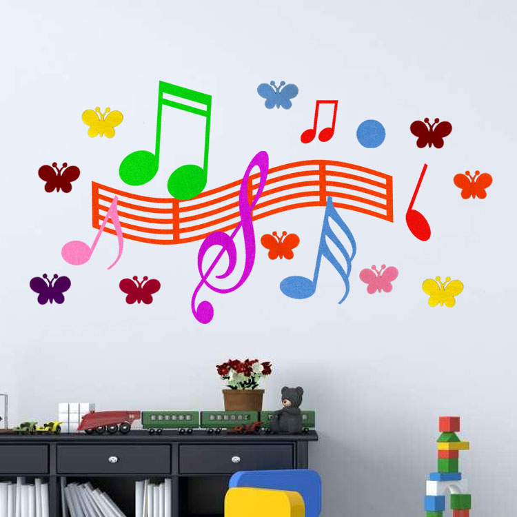 Music Classroom Arrangement Kindergarten Dance Room Decoration Piano Line  Notes 3D Felt Cloth Stereo Wall Stickers