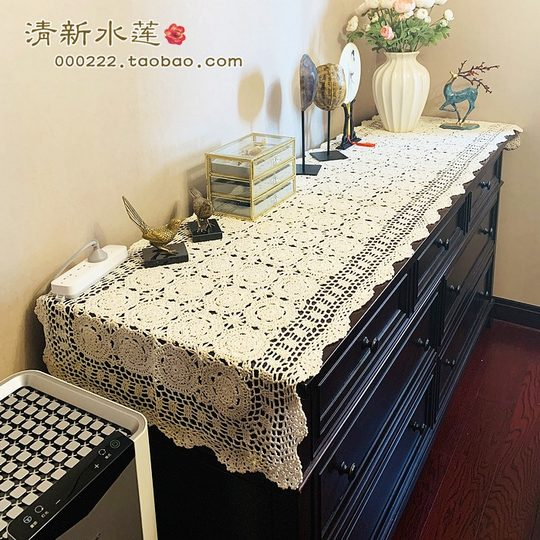 Fresh Lotus Handmade Cotton Crochet Hook Flower American Country Retro Piano Table Cabinet Decorative Cover