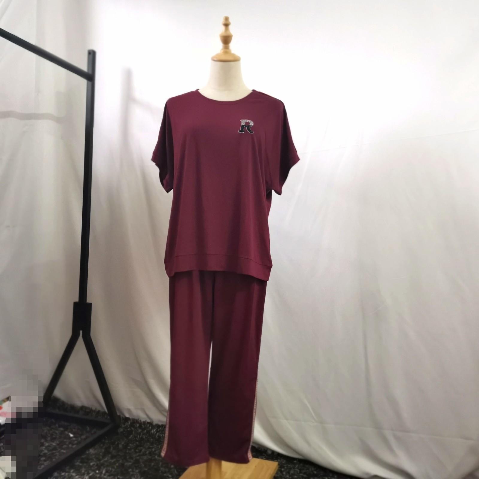 高档天丝罗马裤子夏季件套2019新款两套装大码宽松v裤子女士上衣