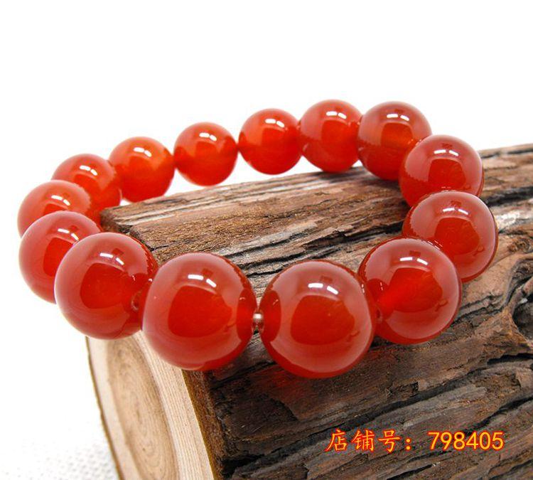 開光天然紅瑪瑙手串招財旺新運本命年化太歲紅色新水晶手鏈手飾品禮品轉運 木雕GJ-001