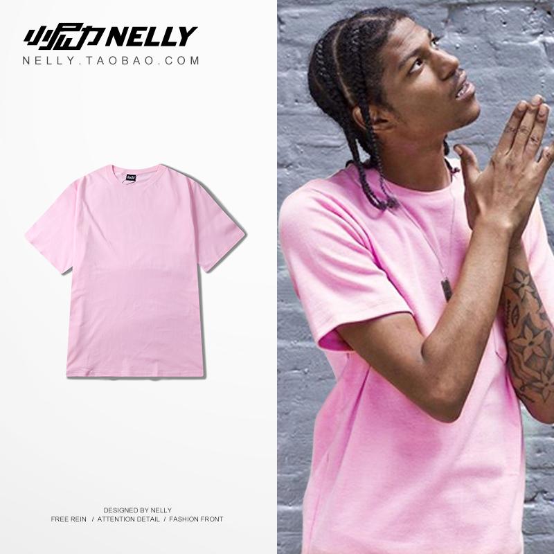 ulzzang韩国粉红色男女t恤夏装t恤短袖半袖纯色粉色宽松t恤潮