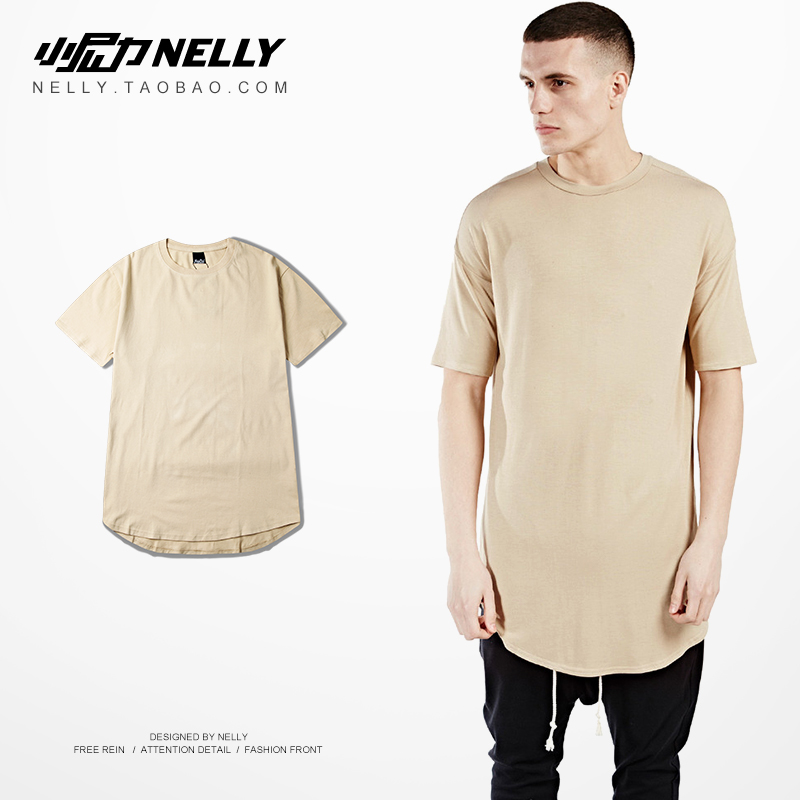 百搭同款men extend plain  高街 t-shirt长款短袖男T恤纯色男女