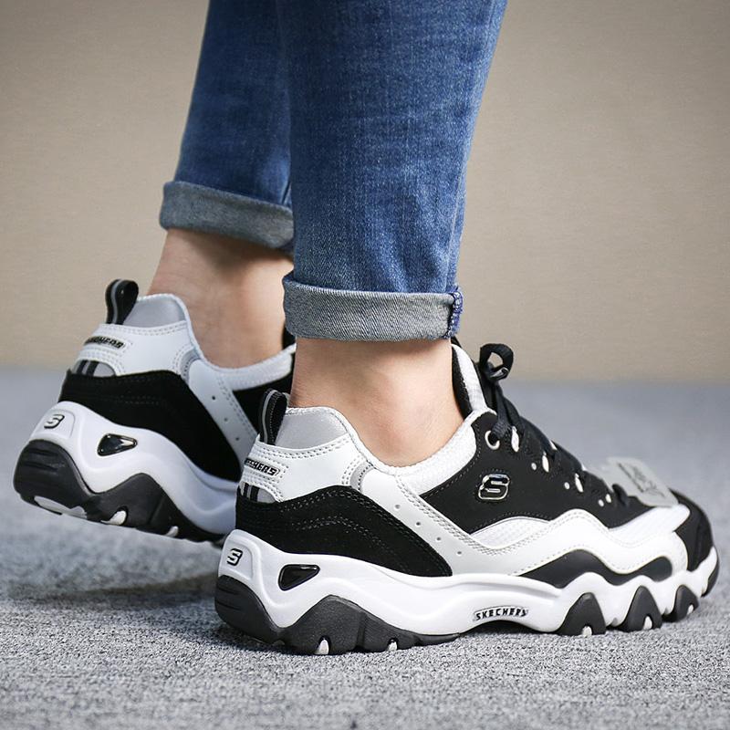 SkechersSKECHERS women's shoes D'lites black and white panda shoes wear thick platform running shoes 99999069