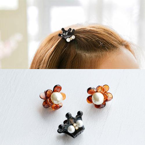 韩国进口 袖珍小号 可爱花朵珍珠皇冠 小发抓 小抓夹 女童