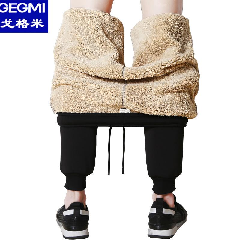 戈格米秋季九分裤子男士韩版潮流加绒加厚运动休闲裤小脚裤大码X