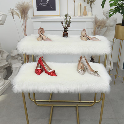 White shop window hairy carpet dressing table cushion shop decoration woolen blanket running table plush cushion imitation wool cushion