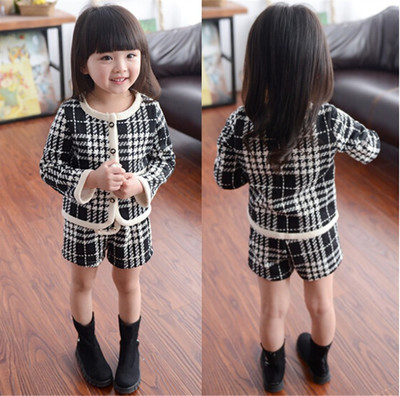 Children's clothing spring 2016 new Korean version of the baby girl Houndstooth long sleeve jacket shorts suit plus velvet small fragrance
