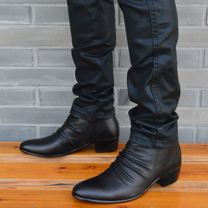 Mens Dress Casual Ankle Boots Chunky Heel Zipper Pointy Toe Cowboy