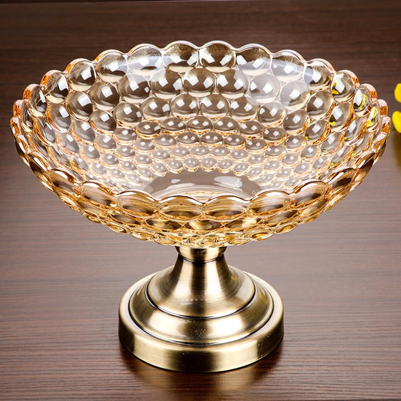 欧式特大号果盘水晶玻璃创意高脚干果盘创意 现代 客厅水果盘子