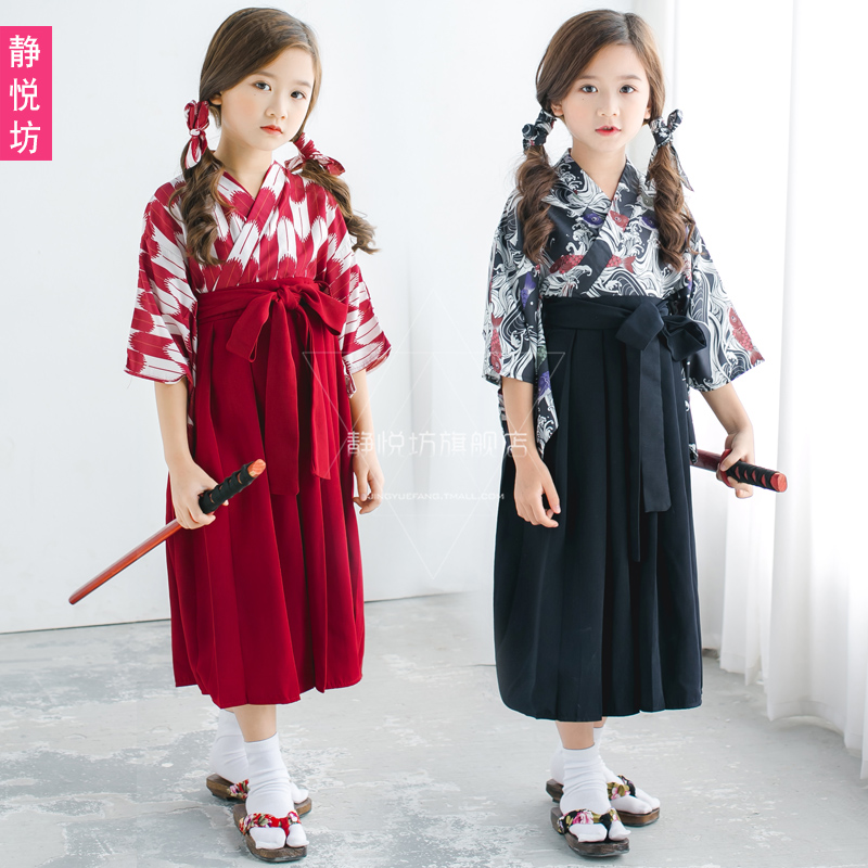 33d079f82e08 Japanese samurai children's sleeves kimono children's clothing yukata  jacket Japanese-style girls traditional dress dress Cos clothing