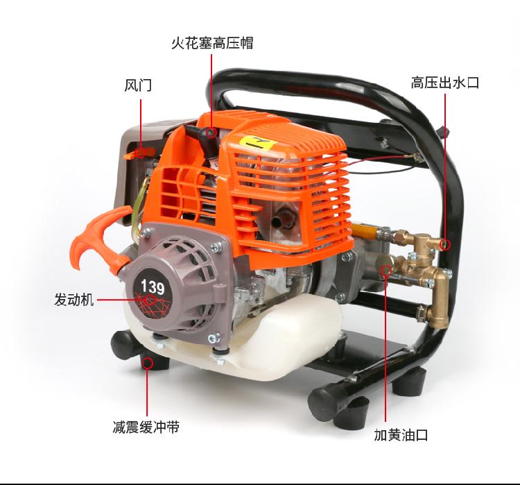 高压手提汽油喷药机四行程消毒机农用果树喷雾机园林喷雾器洗车机详细照片