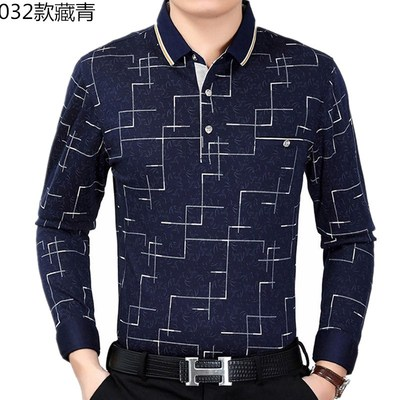 Middle-aged men's long-sleeved T-shirt cotton autumn men's autumn shirt bottoming shirt dad compassionate clothes dad shirt
