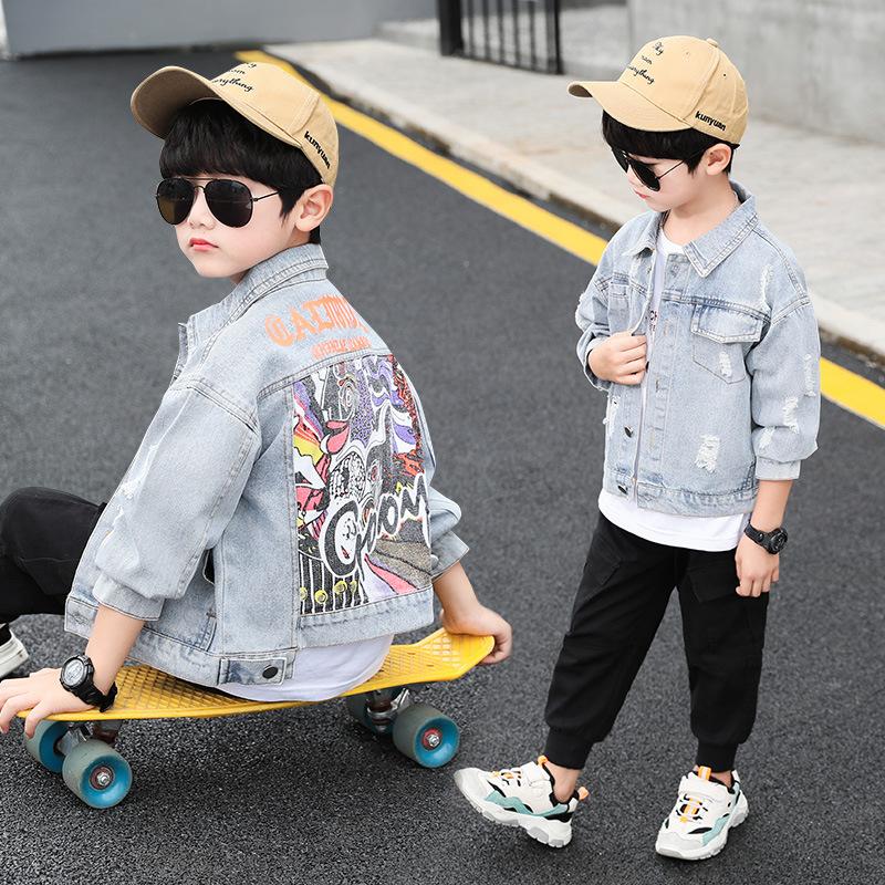 春秋款5棒球外套夹克6男孩子7牛仔上衣8洋气男童9韩版12岁短款服