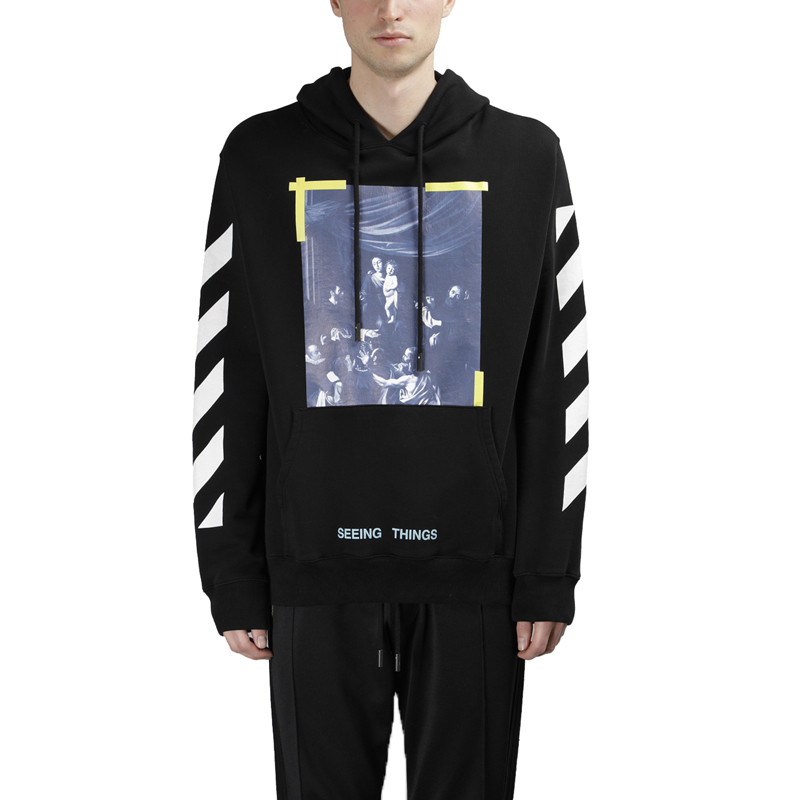 c8bcd817ab04 European straight hair  OFF-WHITE C O VIRGIL ABLOH FW black religious  striped hoodie