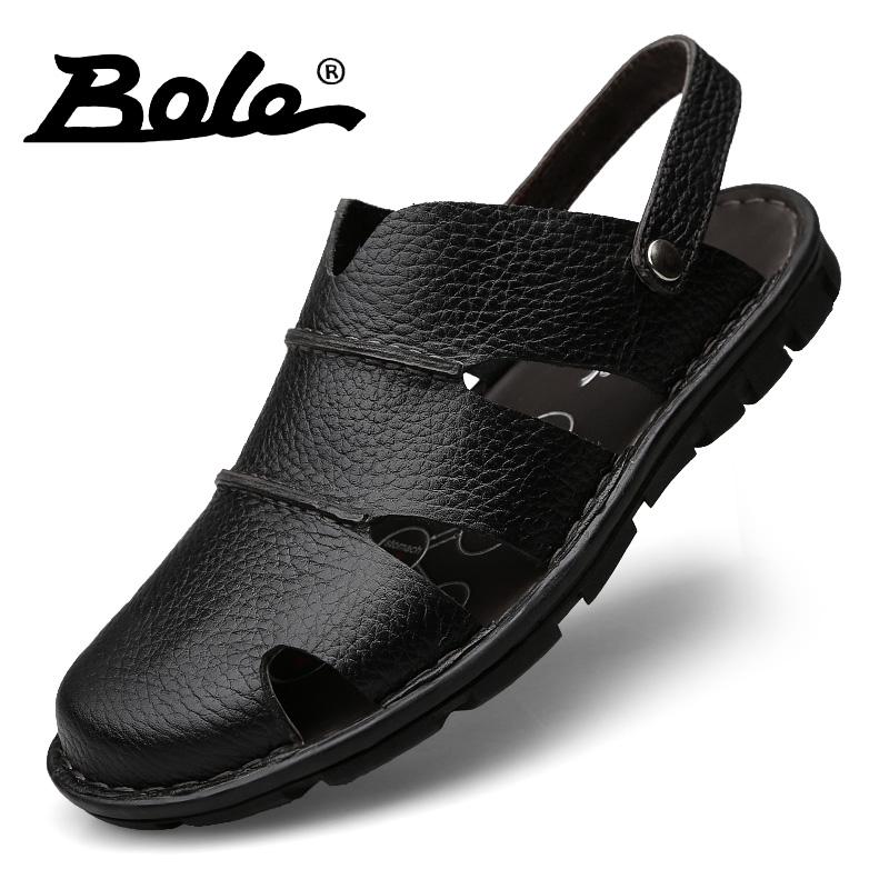 男凉鞋透气头层牛皮包头手工沙滩鞋