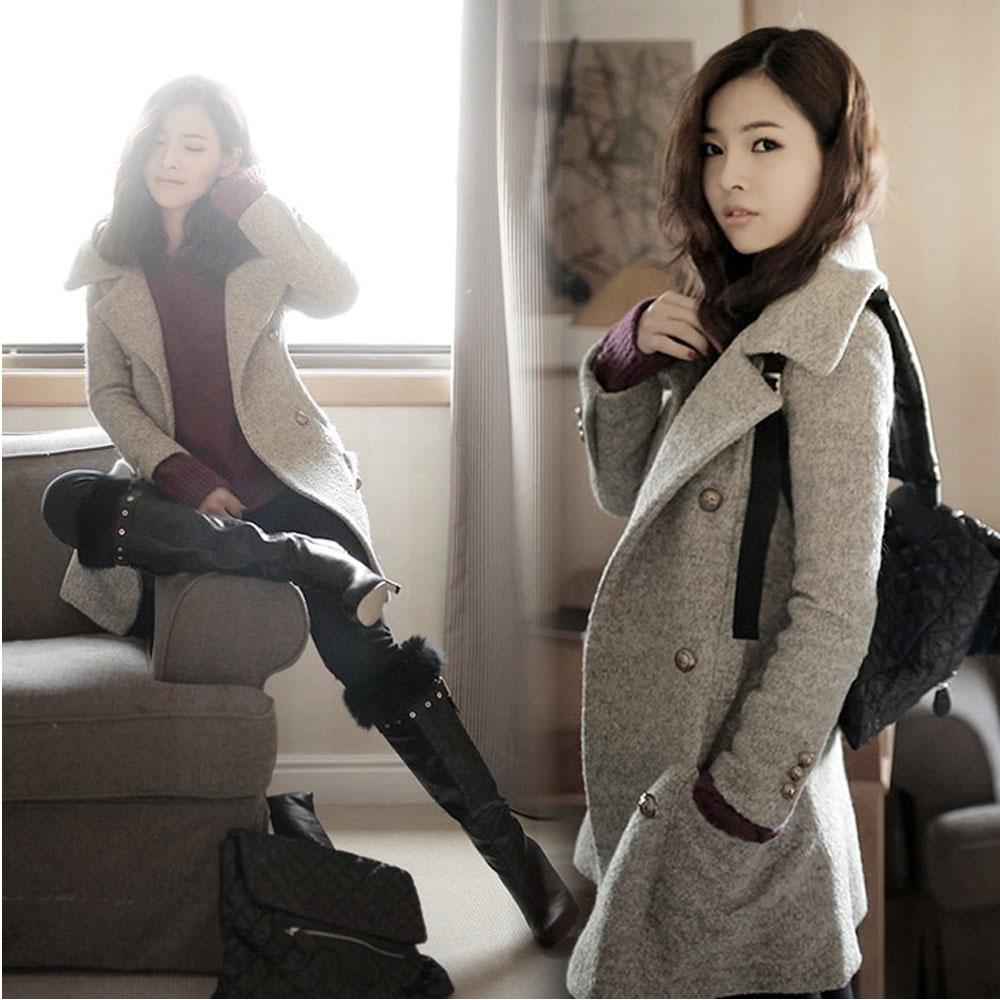 2013秋冬新款修身毛呢外套韩版女装休闲双排扣显瘦呢子大衣