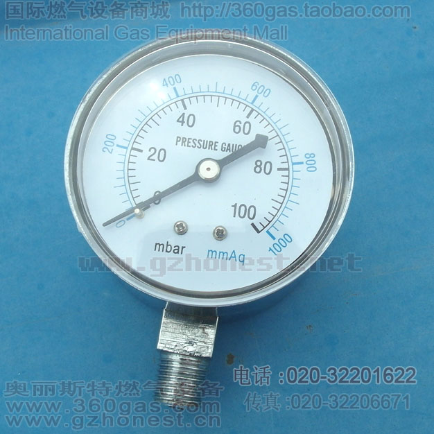 Строительные инструменты Тайвань микро-манометр, 0-100mbar,0-1000mmh20 стол Диаметр 60 мм радиальная 1/4пт газового счетчика пленки картридж таблице