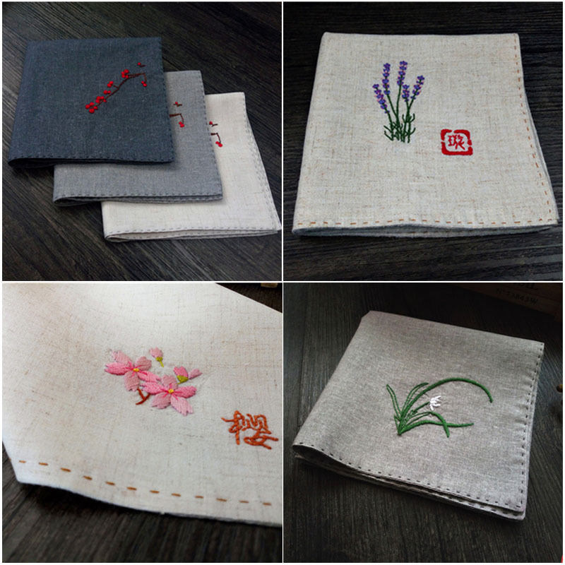 Handmade Embroidery Name Handkerchief Silk Men And Women Friends Valentines Day Birthday Gift Diy Material Package Variety Optional