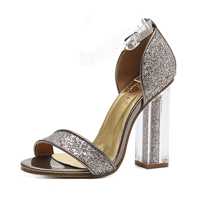 Transparent Heel Sandal - golden's main photo