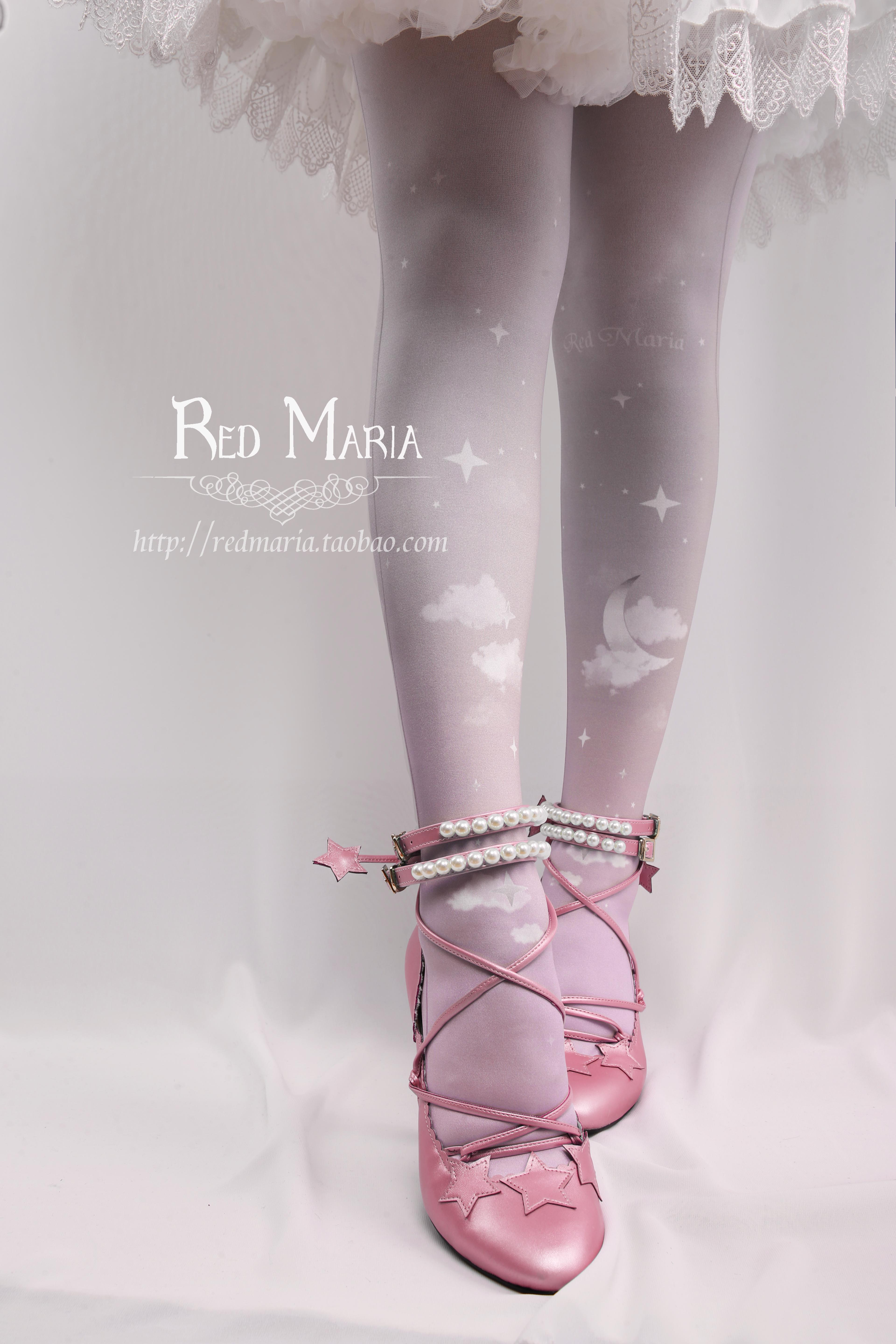 42agent Red maria lolita foreign assembly nebula small white clouds original printing gradient over the knee socks thigh socks - Taobao