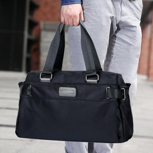 尼龙帆布韩版男包休闲商务旅行包潮男士单肩包手提斜挎包大包横款