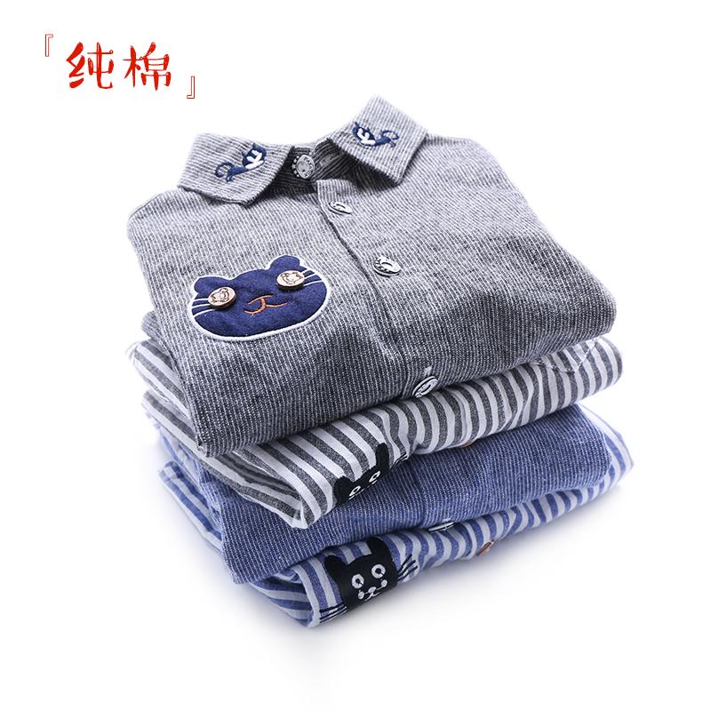 На мальчика сорочка длинный рукав чистый хлопок демисезонный детское новая коллекция дети детские полосатый принт верх Одежды детские рубашка Тонко стиль Осенняя одежда