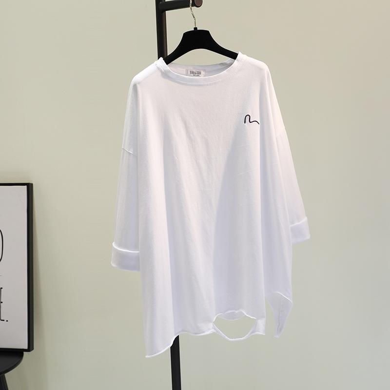 配毛衣中长款白色T恤女2020春季新款韩版刺绣撕破打底衫宽松上衣