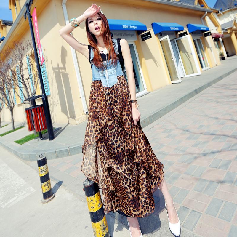 欧美性感豹纹大码吊带雪纺连衣裙夏度假沙滩短裙不规则前短后长裙