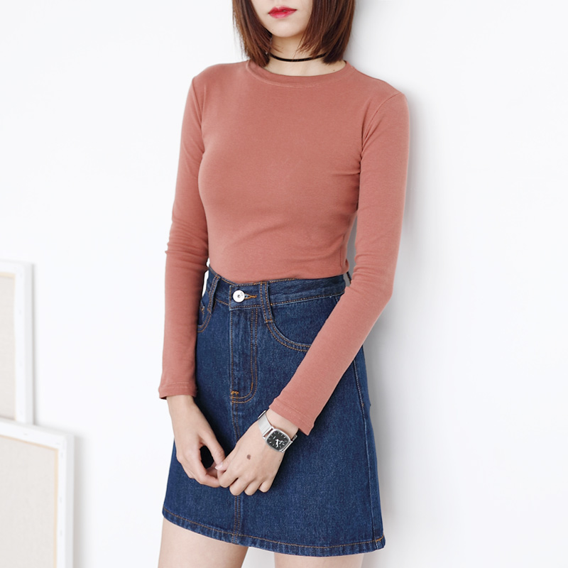 春季新款欧美风ins简约短款紧身AA纯色T恤修身显瘦打底长袖衫女