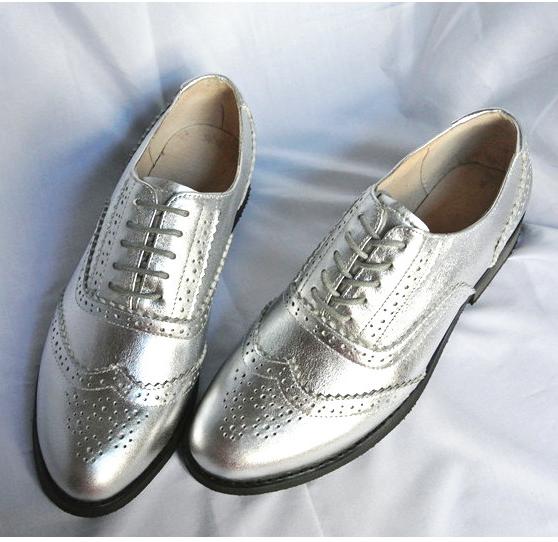 定制金银色小皮鞋真皮圆头平跟女鞋单鞋英伦复古手工女鞋学院风
