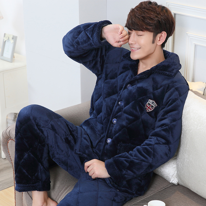 Special men s three-layer thick warm coral fleece quilted pajamas winter  flannel coat single jacket · Zoom · lightbox moreview · lightbox moreview  ... 543ba6c1f