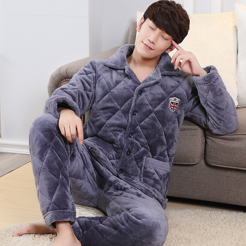 ... men s three-layer thick warm coral fleece quilted pajamas winter  flannel coat single jacket · Zoom · lightbox moreview · lightbox moreview ·  lightbox ... 579837153