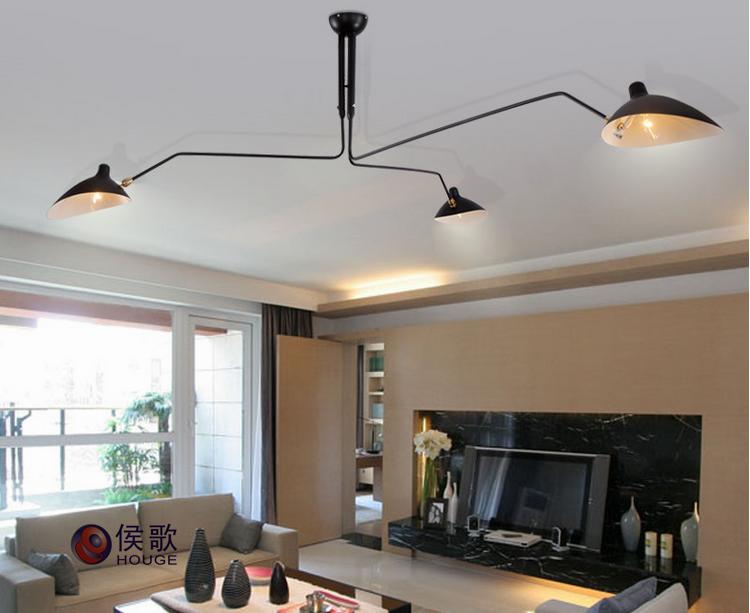 Serge Mouille Style 3 Arm Ceiling Lamp Plafonnier 3 Bras